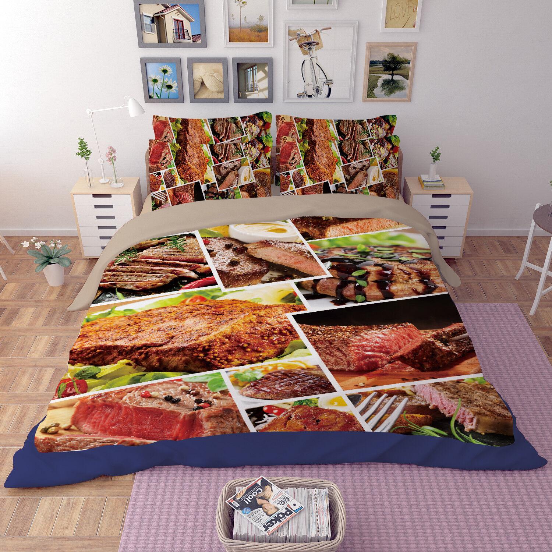 3D Food Steak 793 Bed Pillowcases Quilt Duvet Cover Set Single Queen King CA