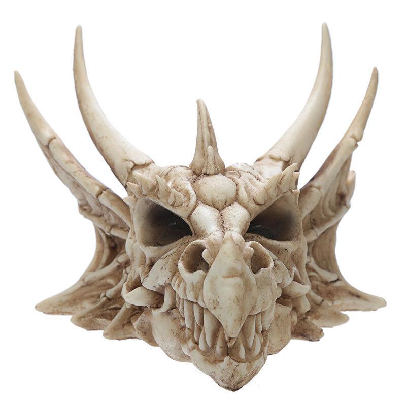 Dragon Skull Ornament Large Fantasy Resin Head Figurine Indoor Home Decor Gift