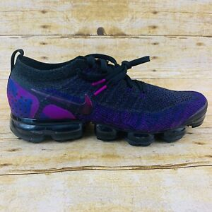 7f5627cce1 NIKE AIR VAPORMAX FLYKNIT 2 BLACK / NIGHT PURPLE MEN SIZE 12 (942842 ...