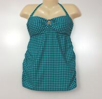 Oh Baby Maternity Tankini 2 Piece Small Green Polka Dots Navy Blue Swim Suit