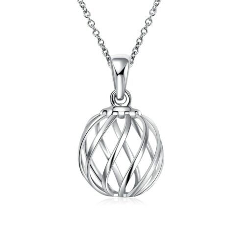 Wholesale 925 Sterling Silver Filled Wave Hollow Ball Necklace Gift