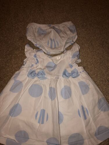 Baby Girl Mayoral Blue And White Spotted Dress Size 4-6 Months