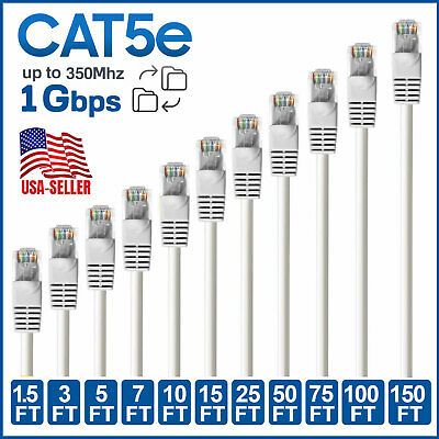 100 Pack Lot 15ft CAT5e Ethernet Network LAN Patch Cable Cord 350 MHz White