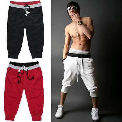 2016 Mens 3/4 knee Jogger Sport Shorts Loose Casual Gym Harem Rope Trousers