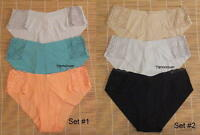 3 Victoria's Secret Panties Raw Cut No Show Hiphugger Lace Detail Large