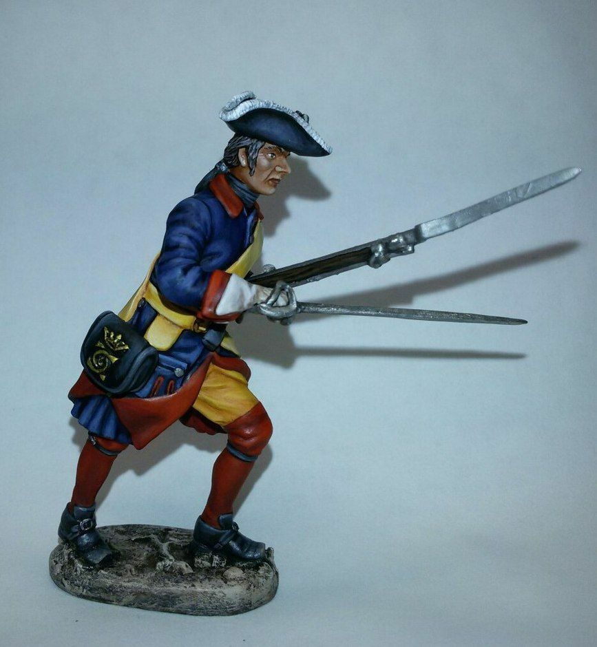 Tin soldier, Art, Swedish musketeer on march, Soldier, Great Northern War, 54 mm