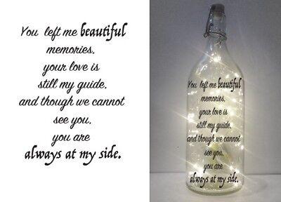 IKEA KORKEN clear bottle memorial quote 006 DIY lettering printed vinyl WINE