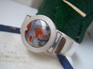 Vintage banded agate silver bangle bracelet