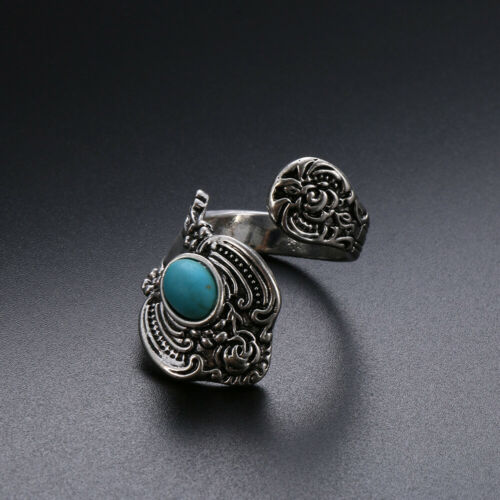 Native American Indian Jewelry Silver Fleur Turquoise Ouvert Anneau Réglable