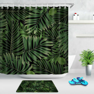 "72/"" Tropical Flowers Green Leaves Shower Curtain /& Hooks Bathroom Accessory Sets"