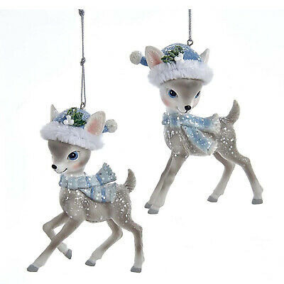Set//2 Kurt Adler Gray Reindeers With Santa Hats Christmas Tree Ornaments Decor