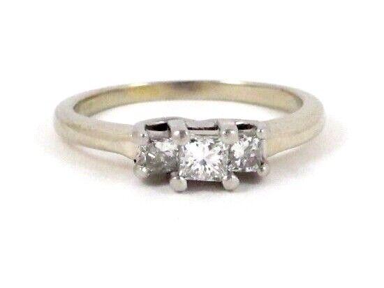 14k White gold & Platinum Princess Diamond 3 Stone Past Present Future Ring .46c
