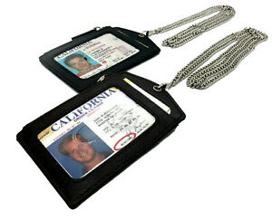 GENUINE-LEATHER-ID-BADGE-HOLDER-ZIPPERED-LANYARD-METAL-NECK-CHAIN-CARD-HOLDER