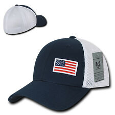 Navy Blue USA US American Flag Low Crown Mesh Flex Baseball Fit Hat Ball Cap