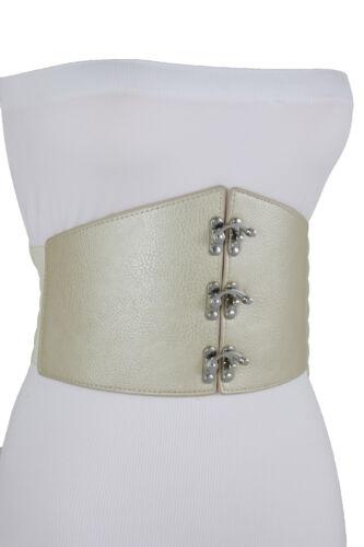 Women Faux Leather Elastic Champagne Beige Wide Corset Belt Metal Hook L XL XXL