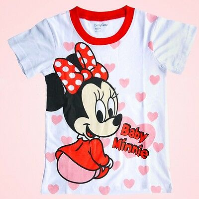 Kids Girls Mickey & Minnie Mouse Cute Tops T-Shirts Blouse Summer Clothing 1-7Y