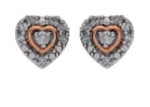 Tia Mia Sterling Silver and 9ct Rose Gold Plated Diamond Heart Earrings RRP £99