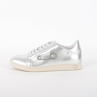 new arrivals quality coupon codes Mens Versus Versace Safety Pin Badge Silver/Beige Trainers (PF1 ...
