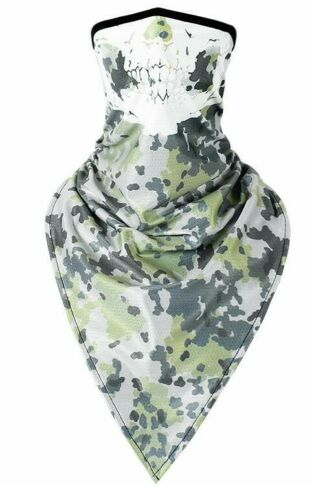 Details about  /Outdoor Balaclavas Triangle Headscarf Biker Face ScarfGreen speckled skull