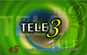 *2837 SCHEDA TELEFONICA PHONECARD USATA INTERNAZIONALE TELE3 5 E JAXSSeUW-09122133-153705168