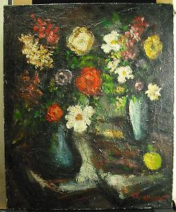 Bouquet-di-Fiori-c1930-Firma-per-Identificare-Hst-Pittura-Flowers-Paint-75-CM