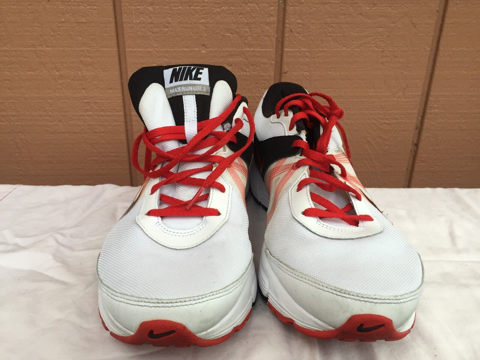 NIKE MAX RUN LITE 3 MENS RUNNING SHOES WHITE/RED/BLK SIZE 12.5 Cheap and beautiful fashion
