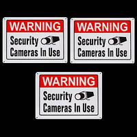 3 Metal Home Security Video Camera System Warning Fence Signs