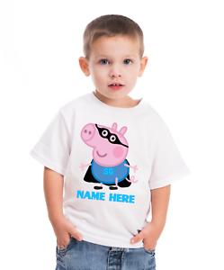 SUPER EROE GEORGE PIG personalizzato BIANCO T SHIRT età 1 a 6