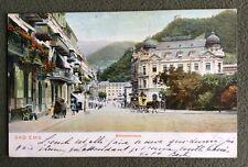 CPA. BAD EMS. Allemagne. 1903. Bahnhofstrasse. Attelage. Hotel Guttenberg.