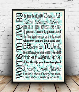 Words-to-live-by-inspirational-word-art-Reproduction-poster-Wall-art