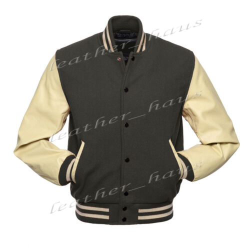 Genuine Leather Sleeve Letterman College Varsity Men Wool Jackets #CRS-CRS-BB-LE