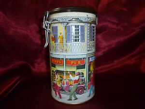 Vintage-New-Orleans-Tin-Storage-Container-with-airtight-lid-16-5cm-x-9cm