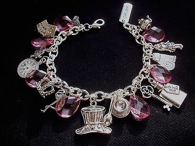 Alice in Wonderland Charm Bracelet with Pink Beads 8 inch