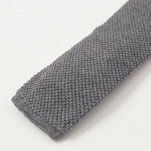 NWT $275 BRUNELLO CUCINELLI Medium Gray Knit Cotton Tie Square End