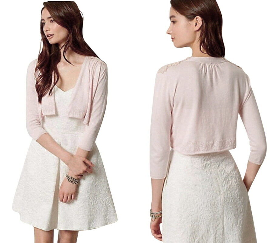 Anthropologie Lace Shoulders Cardigan Medium 6 8 Pink Topper Sweater Bolero NWT