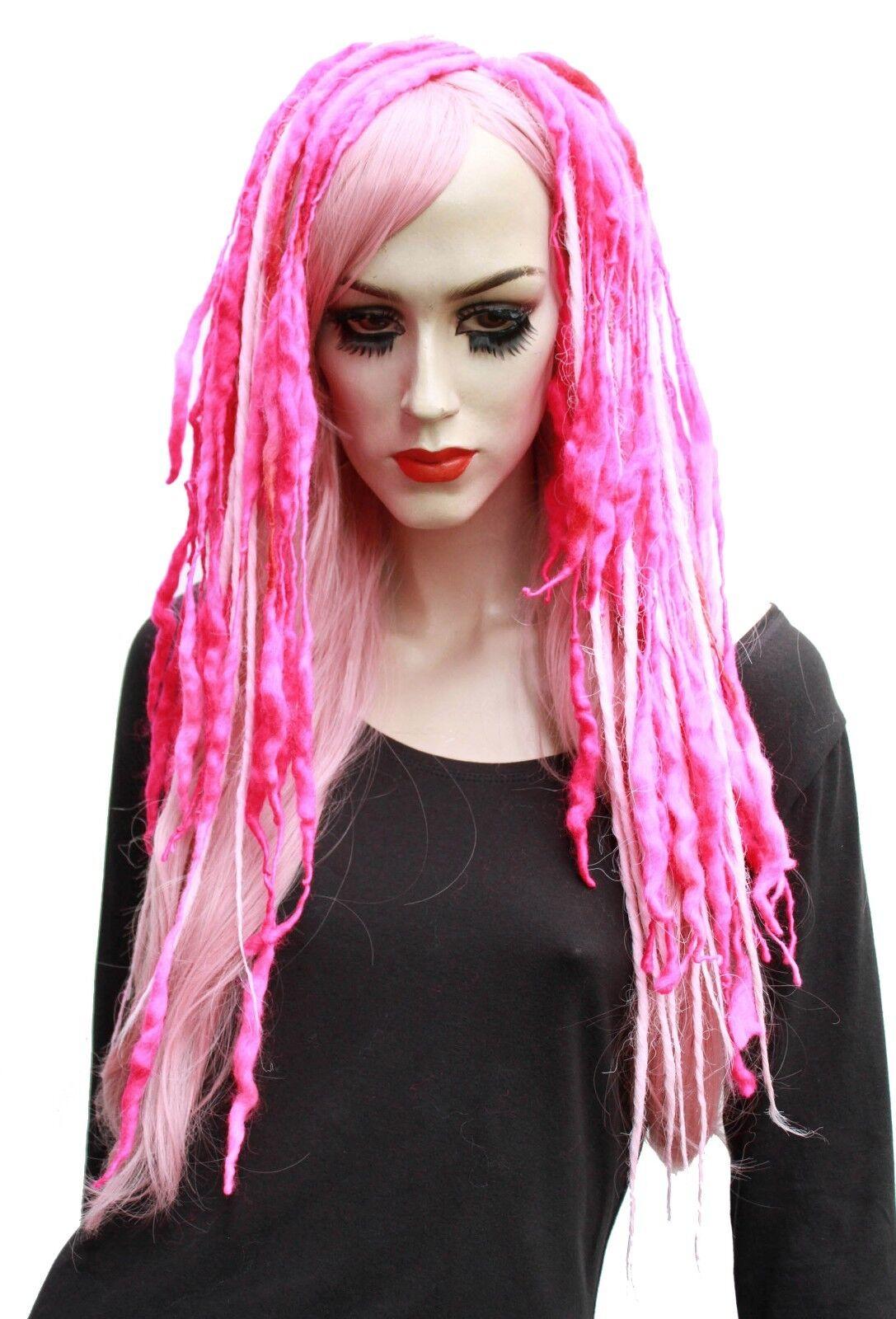 Wool Dread Hair Falls Pink Hair Extensions Pastel Goth Cyber