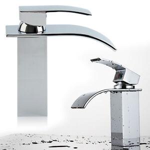 Cascata alta lavabo lavandino del bagno lavandino rubinetto single handle chrome ebay - Rubinetto lavandino bagno ...