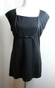 NWT-Max-Studio-Black-Mini-Dress-Leather-Trim-Stretch-Buckle-Size-Large