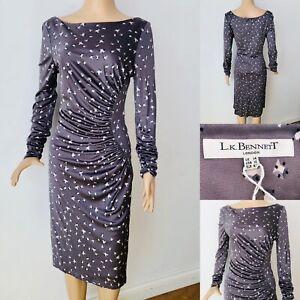 Exquisite-LK-BENNETT-Print-Silk-Jersey-Fitted-Dress-UK14-Long-Sleev-Party-Cruise
