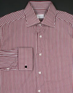 886c62cf ERMENEGILDO ZEGNA * Recent Red Striped FC Cotton Dress Shirt (40) 15 ...