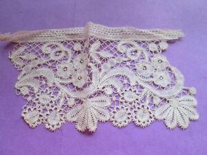 Antique handmade lace apllique from off white cotton Brugge lace-3 pieces