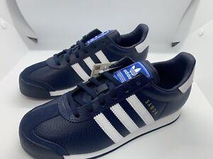 Adidas-Samoa-J-Shoes-Collegiate-Sz-4-5-Navy-Blue-Sneakers-White-Leather-EG2999