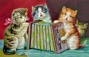 Vintage-Cats-amp-Accordian-Fabric-Applique-Multi-Sizes
