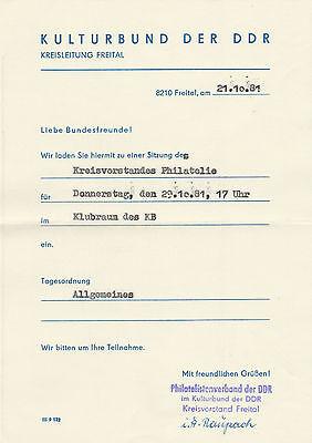 Ddr Einladung Zur Sitzung Des Kreisvorstandes Philatelie Vom 21.10.1981, Freital