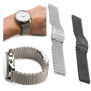 Shark-Mesh-Stainless-Steel-Watch-Band-Strap-fits-Breitlin-Thick-amp-Heavy-18-24mm