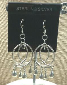 Vintage-Sterling-Earrings-Silver-925-Half-Moon-Ball-Fringe-Dangle-Pierced-Drop