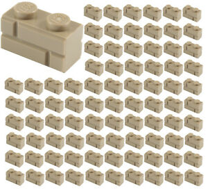100x-NEW-LEGO-1x2-DARK-TAN-Modified-Masonry-Profile-Bricks-Wall-98283-Parts