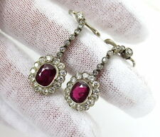 Antique 3.50ct Mogok Ruby & 2.35ct Old Mine Cut Diamond Platinum & Gold Earrings