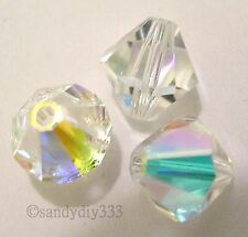 144x SWAROVSKI 5301 CLEAR CRYSTAL AB 3mm BICONE CRYSTAL BEAD