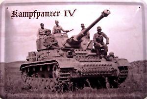 Kampfpanzer-Panzer-IV-2-Weltkrieg-Blechschild-Schild-Metal-Tin-Sign-20-x-30-cm